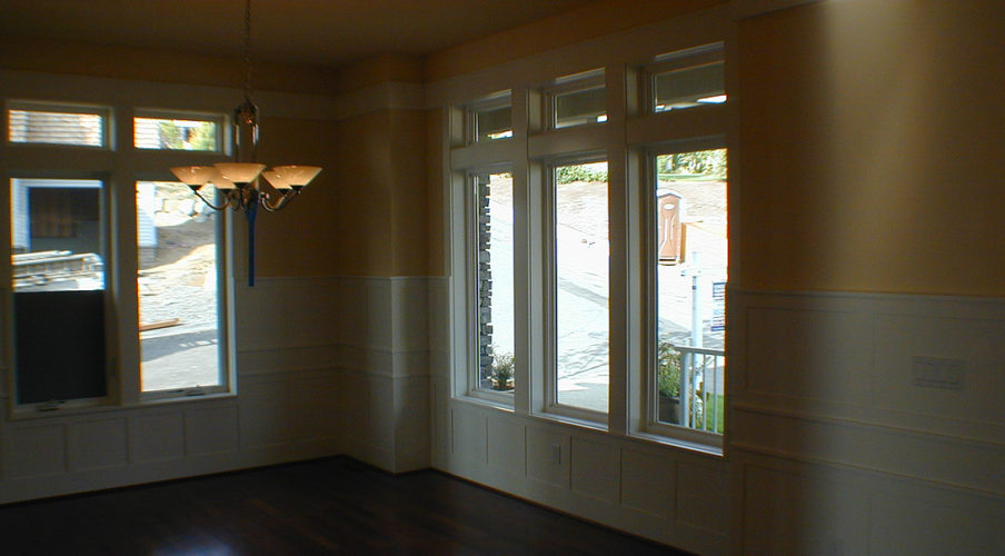 Interior white lacquer woodwork painting
